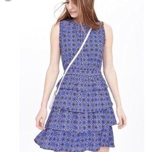 Banana Republic Blue Taylor Tile Ruffle Dress